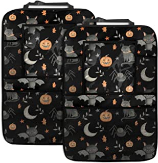 2 Pack Car Backseat Organizer Car Seat Back Protectors Halloween Party Tissue Box Car Storage Organizer with 4 Storage Poc...