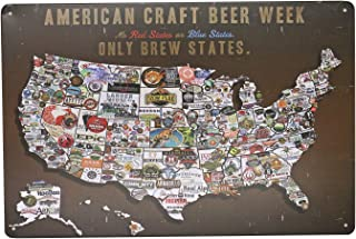 ARTCLUB American Craft Beer Week Beer States Map Vintage Poster Metal Tin Sign Wall Decor