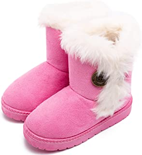 eccbox Girls Boys Snow Boots Kids Winter Warm Faux Fur Shoes Outdoor Button Boots for Toddler Little Kids