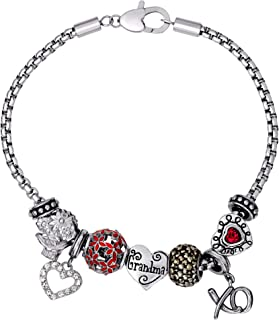 Connections from Hallmark Grandma Stainless Steel Charm and Bead Bundle Bracelet, 8.25