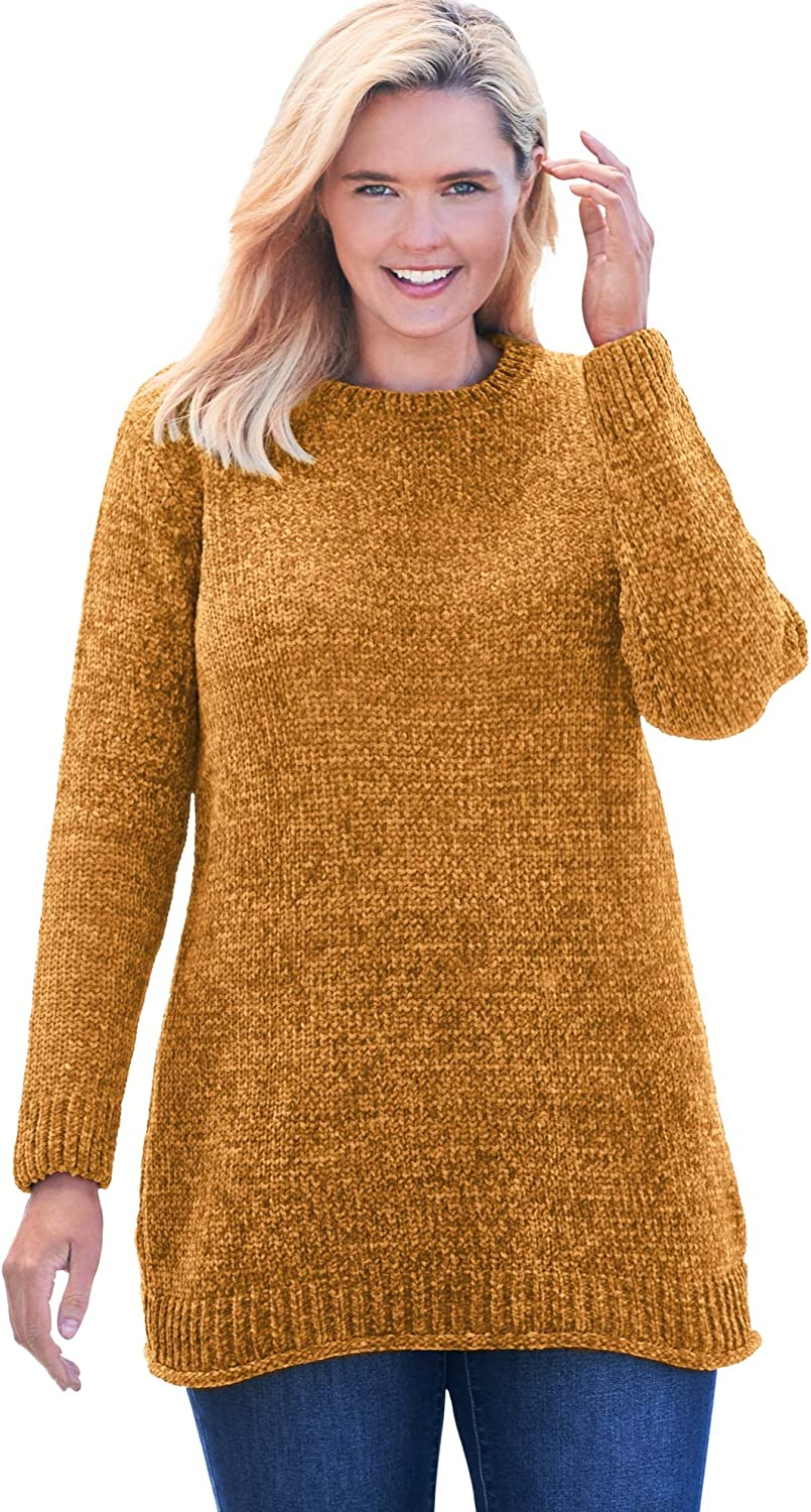 Woman Within Women's Plus Size Chenille Crewneck Sweater Pullover