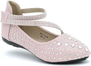 Girl's Kids Glitter Flats Ballet Shoes Ballerina Dress Sparkle Toddler Strap Rhinestone