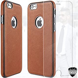 DICHEER Compatible iPhone 6 Case,iPhone 6s Case with Glass Screen Protector,Luxury Matte Brown Leather for Men,Dual Layer Hybrid Defender Soft TPU Bumper Best Protective Cover Classy Case Brown