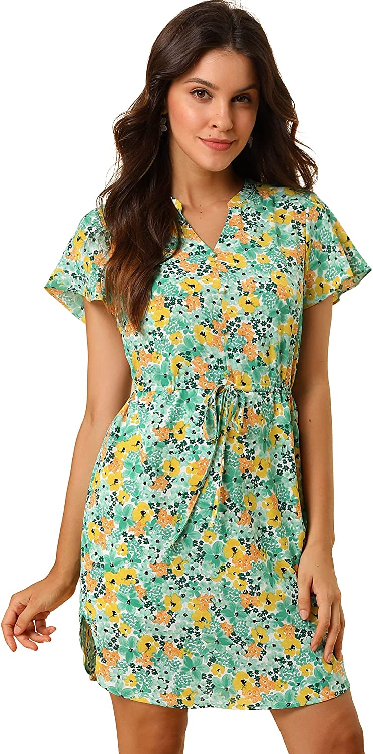 Allegra K Women's Garden Floral V Neck Flare Sleeve Casual Dress with Belted