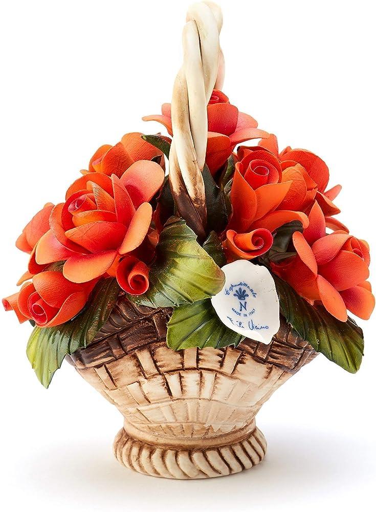 Cestino di rose, soprammobile in porcellana, fatto a mano  in italia, stile capodimonte