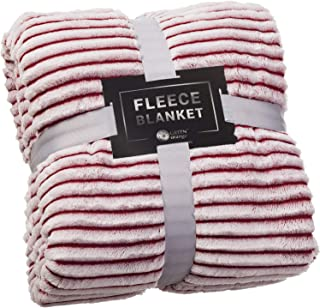 GREEN ORANGE Fleece Blanket Queen Size – 90x90, Red and White – Soft, Plush, Fluffy, Warm, Cozy – Perfect Full Size Throw for Couch, Bed, Sofa