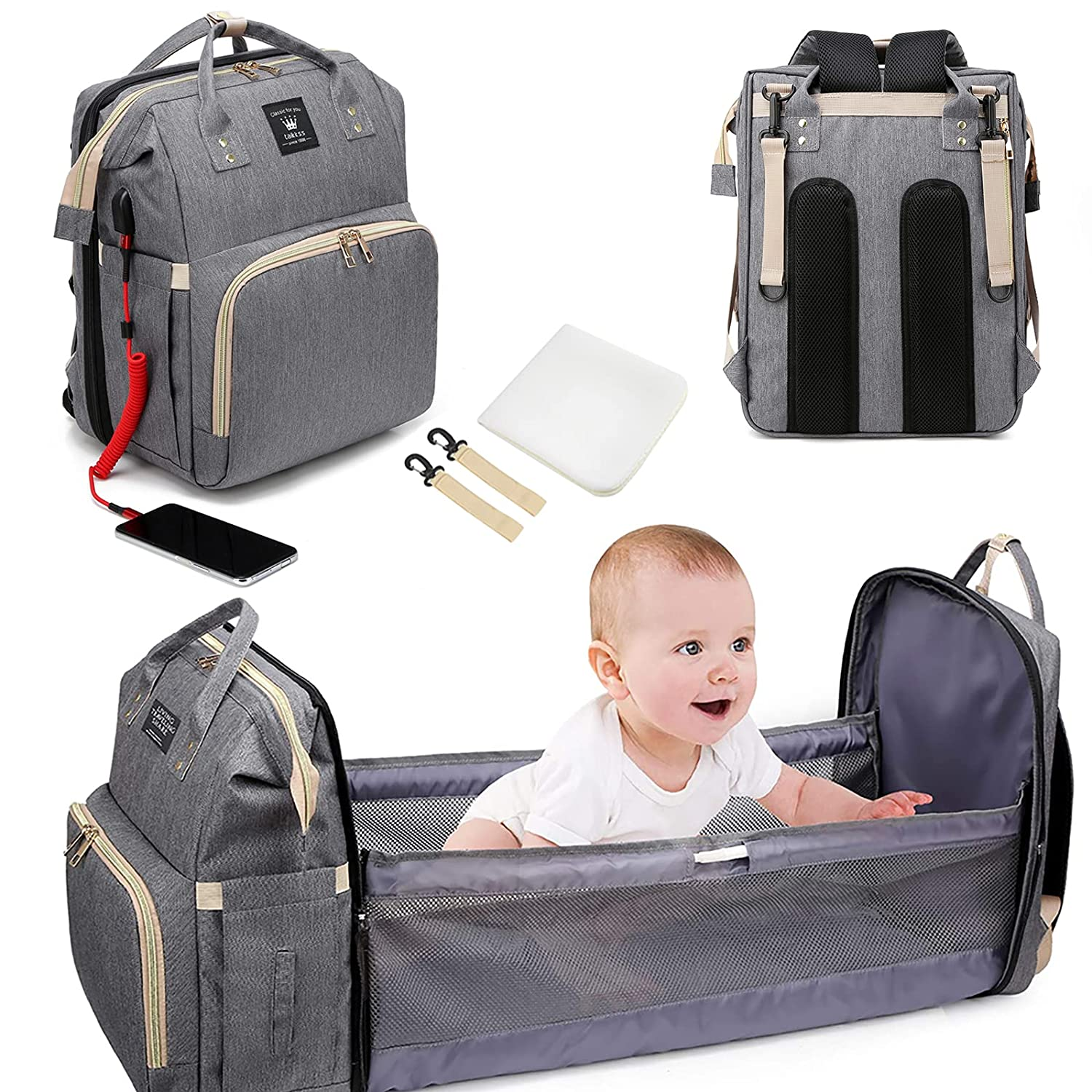 Backpack Diaper Bag for Baby boy with Changing Station,Large Capacity Waterproof Expandable Lightweight Baby Bag with USB Charging Port for Dad Mom (Grey)
