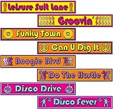 "Beistle S54502AZ3, 12 Piece Disco Street Sign Cutouts, 4"" x 24"""