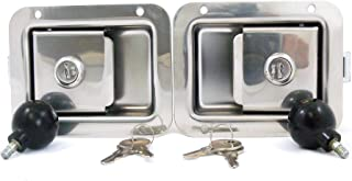 Pair Junior Size Flush Mount Paddle Handle Stainless Steel Locking Door Latch Heavy Duty Premium 304 Grade Stainless with Interior Safety Release Compatible w Toolboxes and Trailer Compartment Door