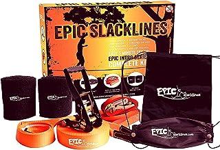 EPIC SLACKLINES Set   50 Ft x 2 In Kit Slackline Completo con Línea de Entrenamiento, Trinquete de Seguridad, Protectores de Árboles y Estuche de Transporte   Configuración de 5 Minutos