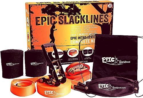 EPIC SLACKLINE Set   50 Ft X 2 In Kit Complet Slackline de Avec Ligne de Formation, Rochet de Sécurité, Prougeecteurs D'arbres, et Mallette de Transport Portable   Indoor and Outdoor   5 Minutes Setup