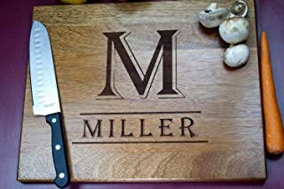 Personalized Monogram Cutting Board, Engraved Cutting Board, Custom Cutting Board, Wood Cutting Board (Shown in African Mahogany) M2