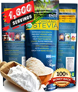 Bulk Organic Stevia Powder Easy Use (7.05oz / 1600 Servings) All Natural Alternative Sweetener 12x Sweeter than Processed Sugar USDA Certified No Artificial additives & fillers