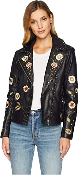 Samantha Embroidered and Studded Ladies Leather Jacket