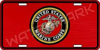 Airstrike USMC Black Flag License Plate Marines License Plate-Marine Corps Emblem on Black Made in USA Metal License Plate-774