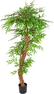 THE BLOOM TIMES 5.5FT Artificial Ficus Silk Tree in Plastic Nursery Pot, Fake Potted Plants with Natural Trunk for Living Room Home Indoor Decor
