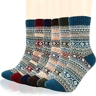 Warm Socks for Men, Homga 6 Pairs wool socks Mens Knit Thick Wool Socks Soft Warm Comfort Winter Crew Socks