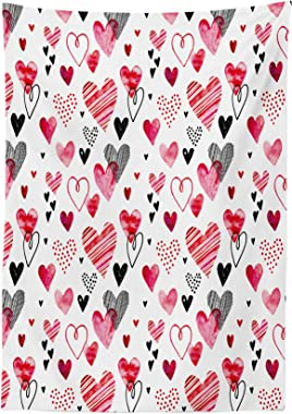 Lunarable Love Tablecloth, Love Valentines Day Inspirations Illustrations with Doodle Heart Pattern, Rectangular Table Cover