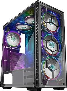 MUSETEX Phantom Black ATX Mid-Tower Desktop Computer Gaming Case USB 3.0 Ports Tempered Glass...