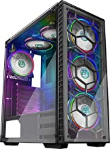 MUSETEX Phantom Black ATX Mid-Tower Desktop Computer Gaming Case USB 3.0 Ports Tempered Glass Windows with 6pcs 120mm LED RGB Fans Pre-Installed(903-S6)