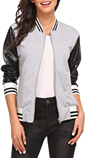 OD'lover Women Casual's Faux-Leather Sleeve Varsity Jacket Baseball Lightweight Zip Up Bomber Jacket
