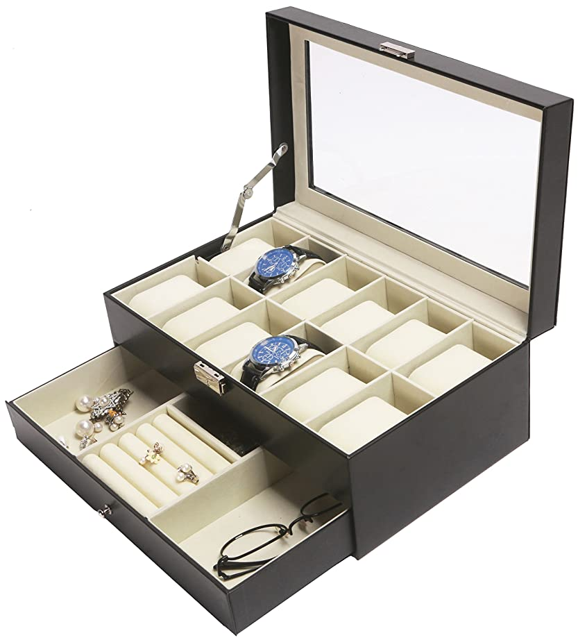 Amelitory 12 Slot Watch Box for Men Display Case Watch Organizer Jewelry Tray Faux Leather