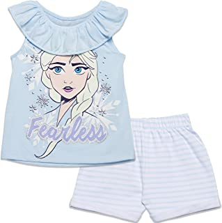 Disney Frozen Elsa Toddler Girls' Ruffle Tunic Top & Twill Shorts Clothing Set