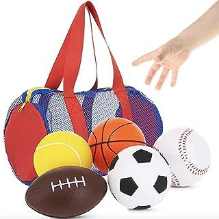 "Balls for Kids - Foam Sports Balls -3.5"" Perfect for Small Hands - Includes 1 Soccer Ball, 1 Basketball, 1 Baseball, 1 Foo..."