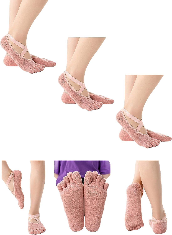 Female Sports Socks Yoga Socks Women Full Toes Socks Yoga Women for Pilates, Pure Barre, Ballet, Dance, Barefoot Workout