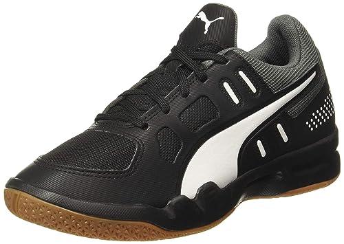 Puma Unisex-Child Auriz Jr Black-nrgy Red White Badminton Shoes