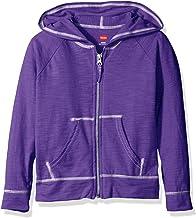 Hanes Little Girls' Slub Jersey Full Zip Jacket, Purple Crush, X-Large