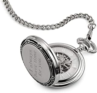 Things Remembered Personalized Photo Skeleton Pocket Watch with Engraving Included