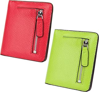 AINIMOER Women Leather Wallet RFID Blocking Small Mini Bifold Zipper Pocket Card Case Red and Light Green
