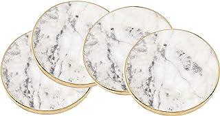 Godinger Coaster Set, Round Marble Gold Edged - Set of 4