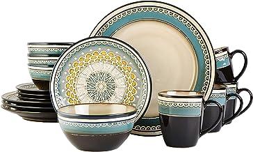 Gibson Stoneware Dinnerware Set 16 Pieces , Multi Color