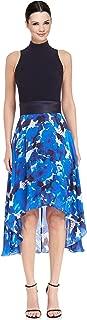 Crepe & Printed Chiffon Hi-Low Cocktail Evening Dress