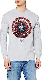 Marvel Ca Comic Shield Long Sleeve Top Camiseta de Manga Larga para Hombre