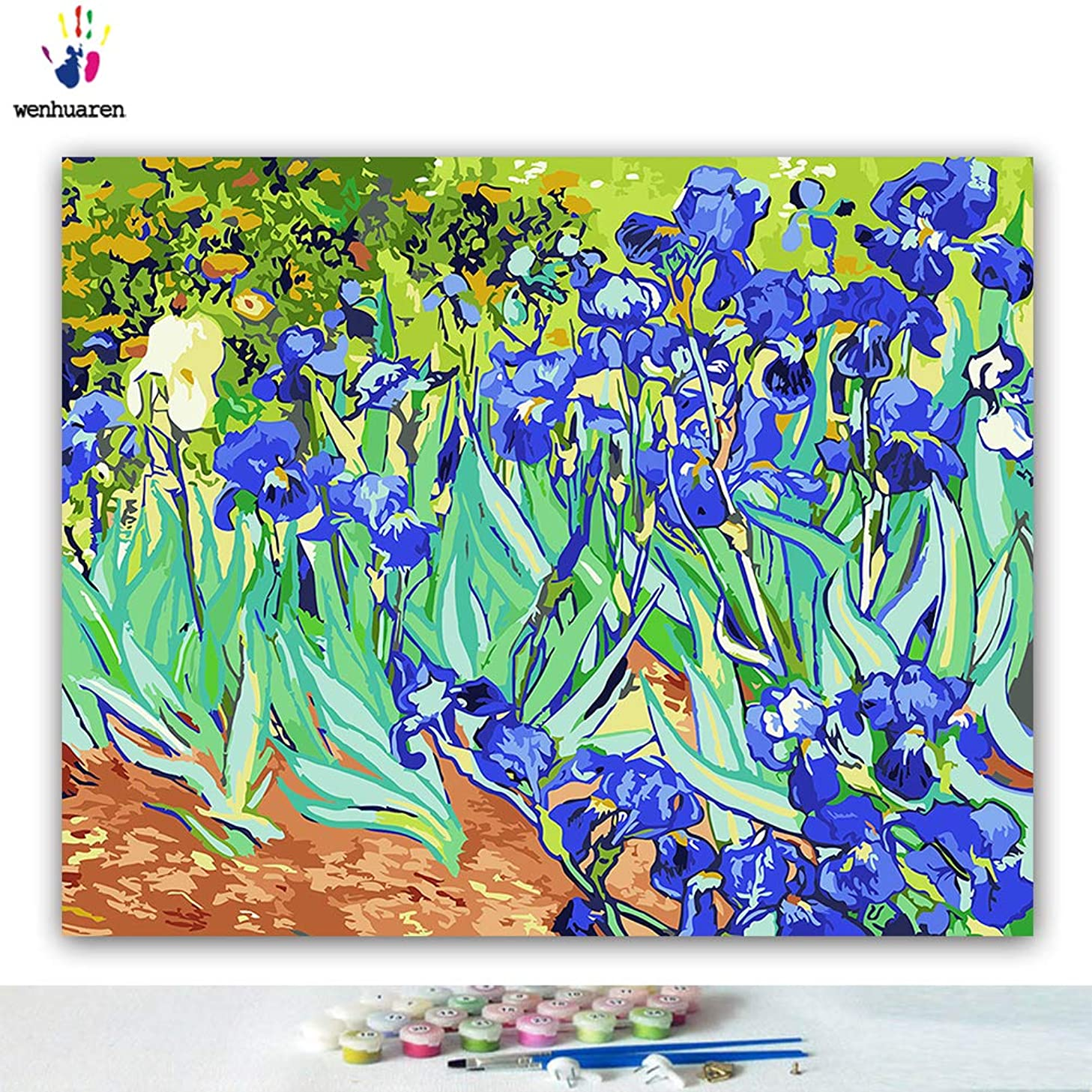 Paint by Number Kits 16 x 20 inch Canvas DIY Oil Painting for Kids, Students, Adults Beginner with Brushes and Acrylic Pigment -Irises Vincent Willem Van Gogh(Without Frame)