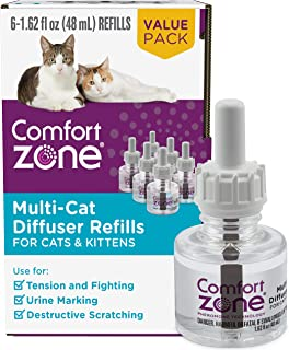 Comfort Zone Cat Calming Diffuser Refill for Multi-Cat Homes to Stop Cat Fighting and..