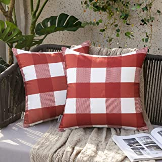 MIULEE Pack of 2 Outdoor Waterproof Throw Pillow Covers Retro Checkers Plaids Pillowcases Decorative Cushion Cases for Pat...