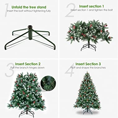 WBHome 5 Feet Snow Flocked Premium Spruce Hinged Artificial Christmas Tree, 420 Branch Tips with Pine Cones, Unlit (5FT)