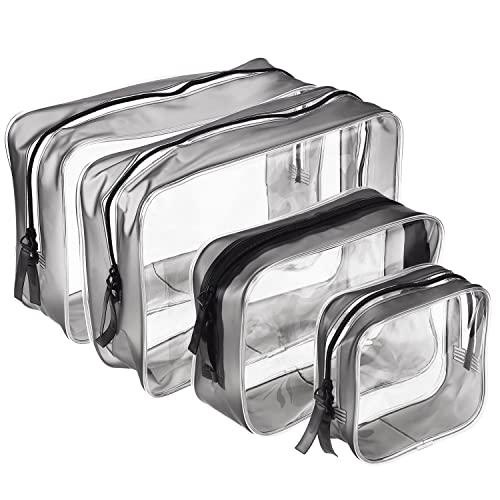 a534bfd742a3a9 4 Pieces Clear PVC Zippered Toiletry Carry Pouch Waterproof Cosmetic Makeup  Bag Toiletry Organizer Case,
