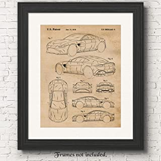 Original Aston Martin Vantage Patent Poster Prints, Set of 1 (11x14) Unframed Photo, Great Wall Art Decor Gifts Under 15 for Home, Office, Man Cave, College Student, Teacher, England Cars & Coffee Fan