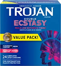 Trojan Double Ecstasy Lubricated Condoms - 24 Count