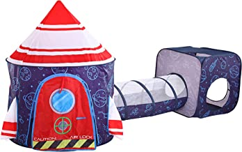 JOYIN Blue Rocket Repeated Pattern Play Tent with Tunnel and Cube Playhouse Set with Rocket Design for Kids Indoor and Out...