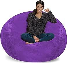 purple fur bean bag