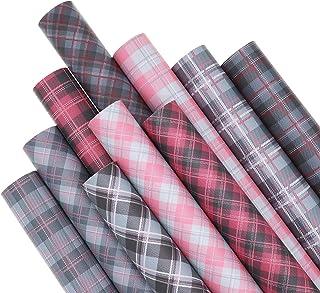 ZAIONE 10PCS/Set Plaid Printed Retro Gray & Pink Series Faux Leather Sheets Bundle 12inch x 8inch Striped Printed Tartan C...