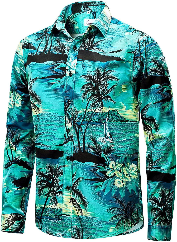EUOW Mens Hawaiian Shirts Weekly update Floral Sleeve Printed Long 5 ☆ popular Casual Butt