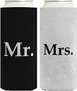 Wedding Bridal Shower Gift Mr Mrs Couples 2 Pack Ultra Slim Can Coolie Drink Coolers Coolies Multi