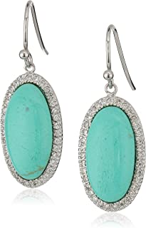 Silver-Tone Earrings with Simulated Center Stone and Cubic Zirconia